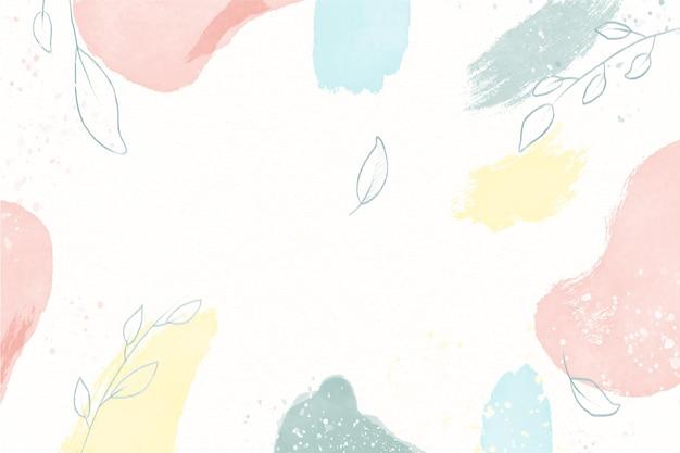 Hand gezeichneter hintergrund der natürlichen aquarellflecken mit blättern Kostenlosen Vektoren