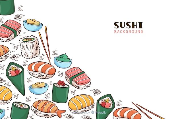 Hand gezeichneter hintergrund des japanischen lebensmittels Kostenlosen Vektoren
