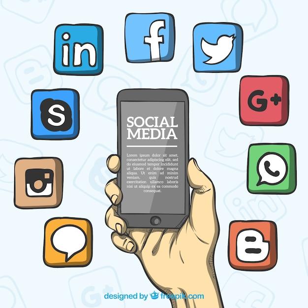 Hand gezeichneter hintergrund mit social media-ikonen Kostenlosen Vektoren