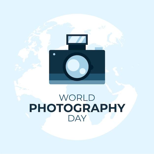Hand gezeichneter hintergrundweltfotografietag Kostenlosen Vektoren