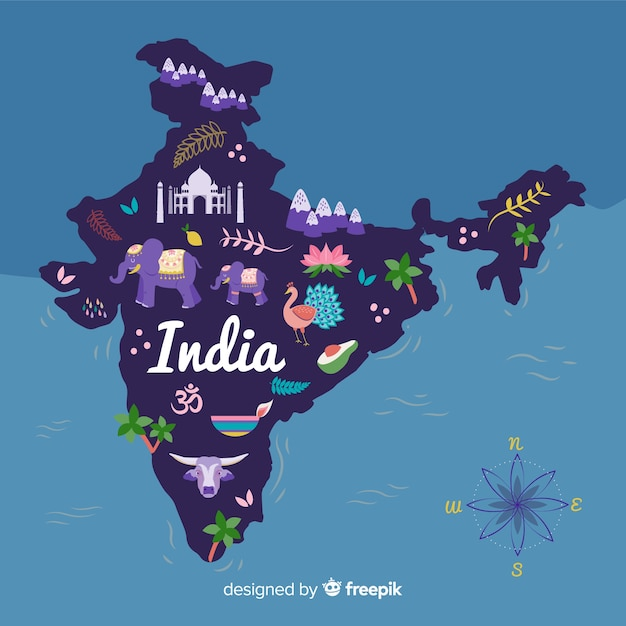 Hand gezeichneter indien-kartenhintergrund Kostenlosen Vektoren