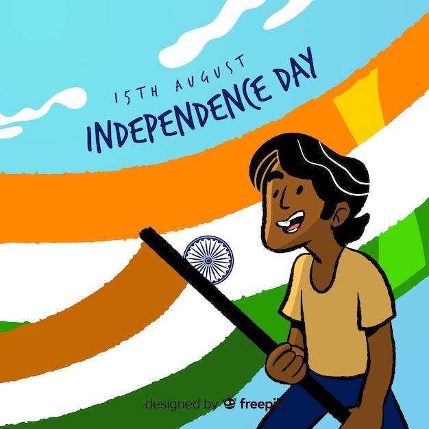 Hand gezeichneter indien-unabhängigkeitstaghintergrund Kostenlosen Vektoren