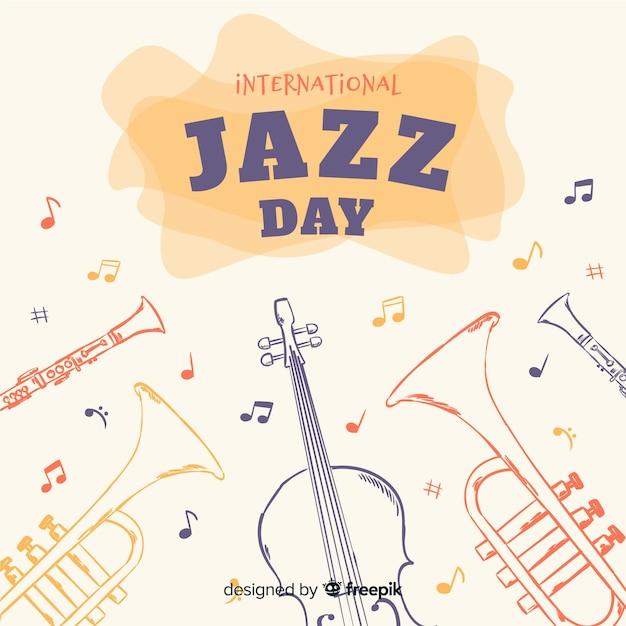 Hand gezeichneter internationaler jazztageshintergrund Kostenlosen Vektoren