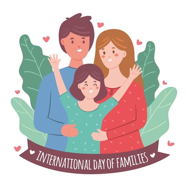 Hand gezeichneter internationaler tag der familien Kostenlosen Vektoren