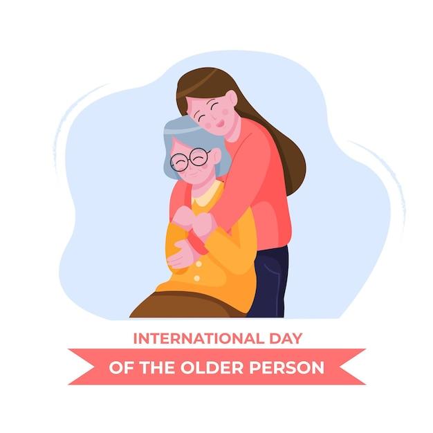 Hand gezeichneter internationaler tag der illustration der älteren personen Kostenlosen Vektoren