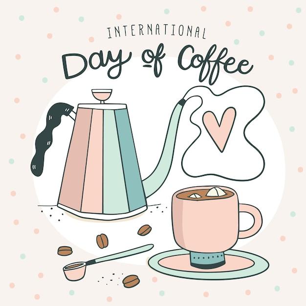 Hand gezeichneter internationaler tag des kaffees Kostenlosen Vektoren