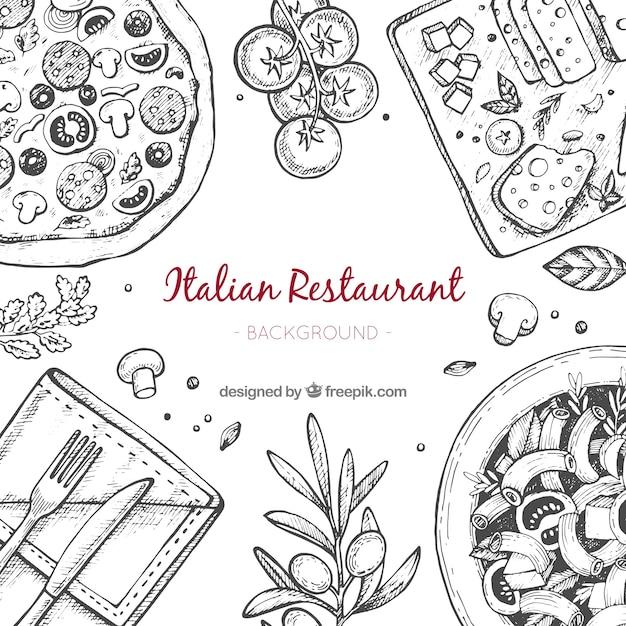 Hand gezeichneter italienischer restauranthintergrund Kostenlosen Vektoren