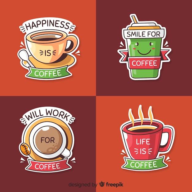 Hand gezeichneter kaffeelogosatz Kostenlosen Vektoren