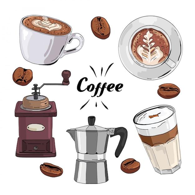 Hand gezeichneter kaffeesatz Premium Vektoren