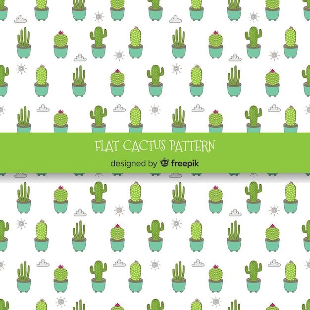 Hand gezeichneter kaktus, wolken und sonnenmuster Kostenlosen Vektoren