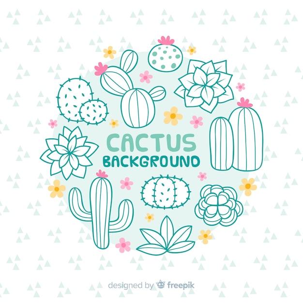 Hand gezeichneter kaktushintergrund Kostenlosen Vektoren