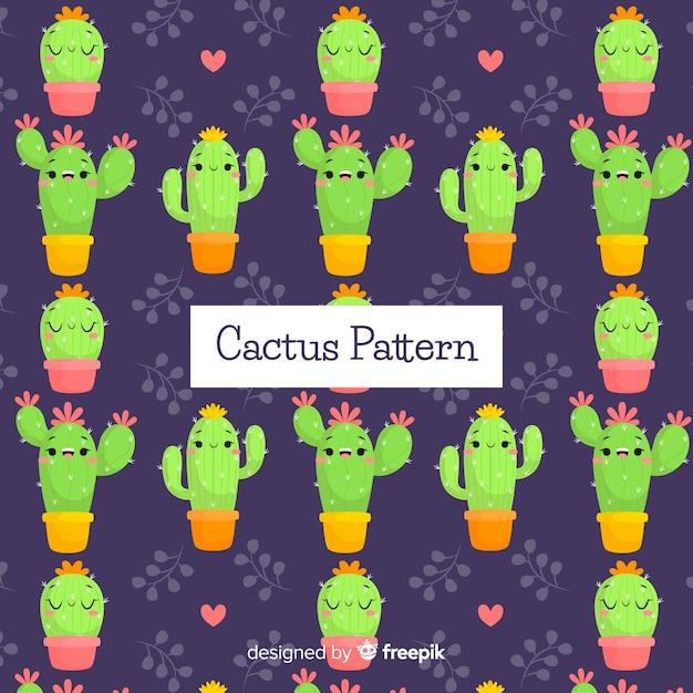 Hand gezeichneter kaktusmusterhintergrund Kostenlosen Vektoren