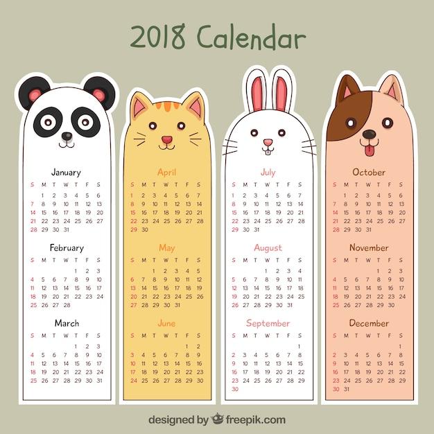 Hand gezeichneter kalender 2018 Kostenlosen Vektoren
