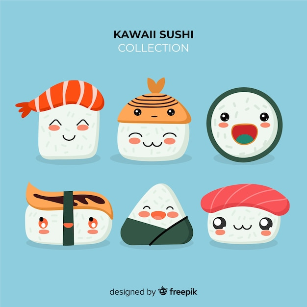 Hand gezeichneter kawaii sushisatz Kostenlosen Vektoren