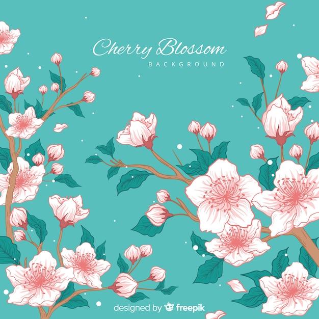Hand gezeichneter kirschblütenhintergrund Kostenlosen Vektoren