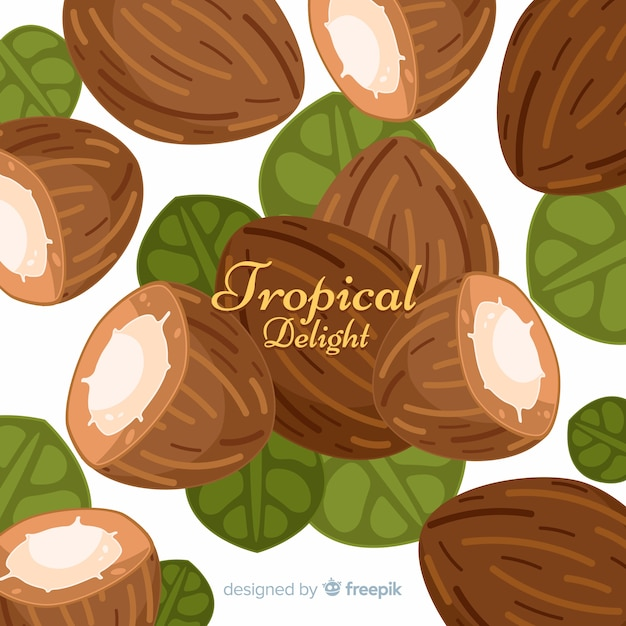 Hand gezeichneter kokosnusshintergrund Kostenlosen Vektoren
