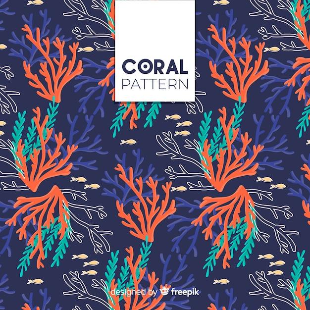 Hand gezeichneter korallenroter hintergrund Kostenlosen Vektoren