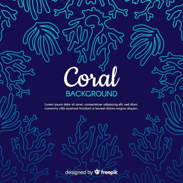 Hand gezeichneter korallenroter rahmenhintergrund Kostenlosen Vektoren