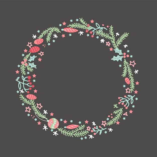 Hand gezeichneter kranz mit roten beeren und tannenzweigen. runder rahmen für weihnachtskarten und winter. Premium Vektoren