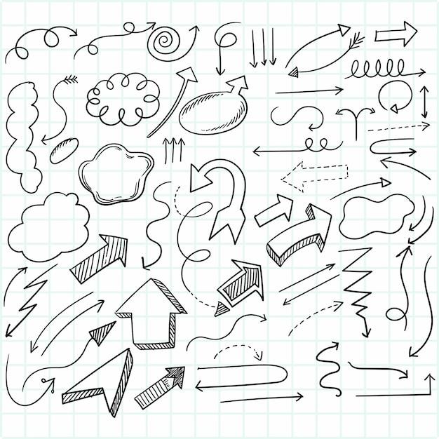Hand gezeichneter kreativer geometrischer pfeilsatzentwurf Kostenlosen Vektoren