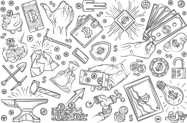 Hand gezeichneter kryptowährungs-bergbausatz-gekritzelhintergrund Premium Vektoren
