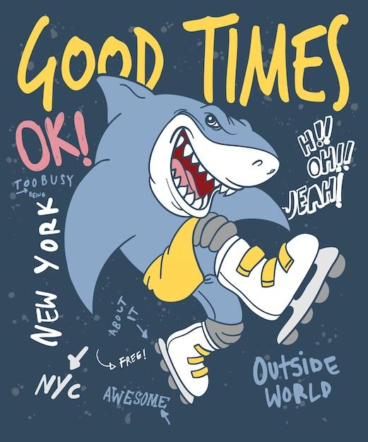Hand gezeichneter kühler haifischvektorentwurf für t-shirt druck Premium Vektoren
