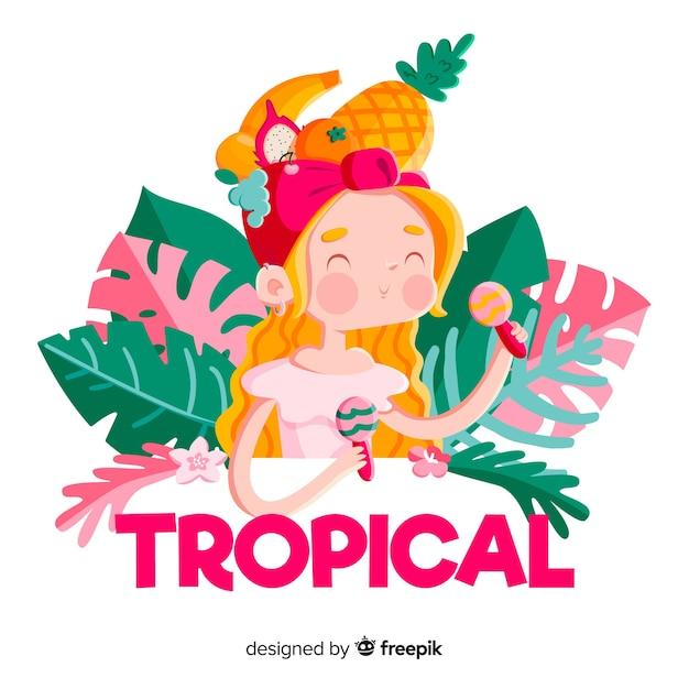 Hand gezeichneter lächelnder blonder tropischer mädchenhintergrund Kostenlosen Vektoren