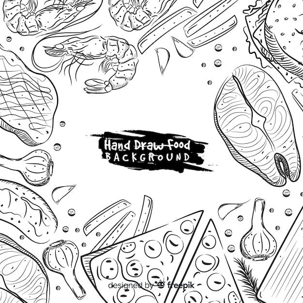 Hand gezeichneter lebensmittelhintergrund Kostenlosen Vektoren