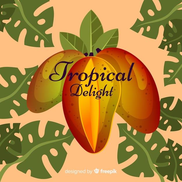 Hand gezeichneter mango und blatthintergrund Kostenlosen Vektoren