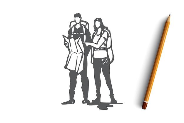 Hand gezeichneter mann und frau, die zusammen konzeptskizze reisen Premium Vektoren