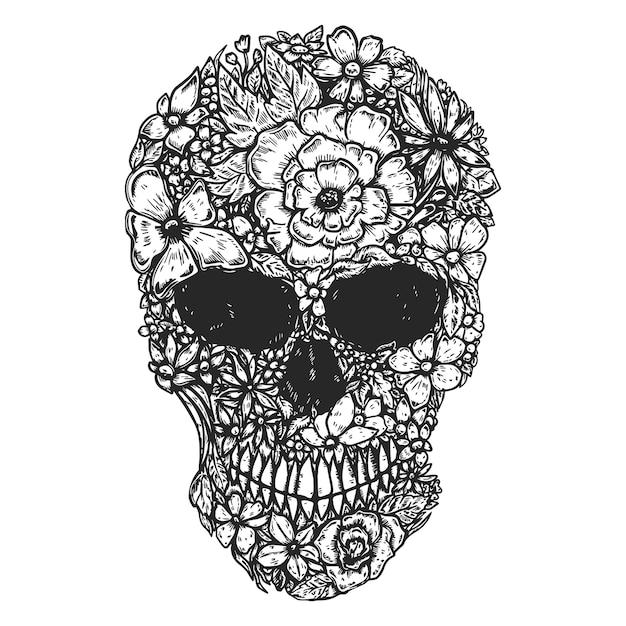 Hand gezeichneter menschlicher schädel hergestellt aus blumen. schädel der botanik. Premium Vektoren