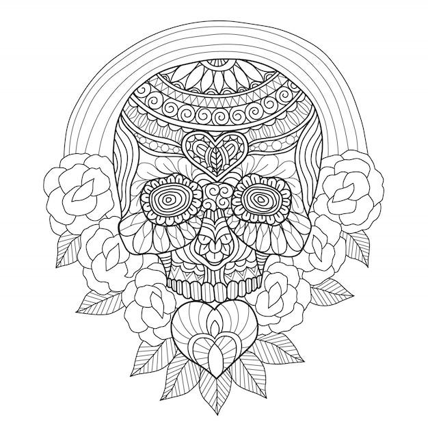 Hand gezeichneter mexikanischer schädel und rosen Premium Vektoren