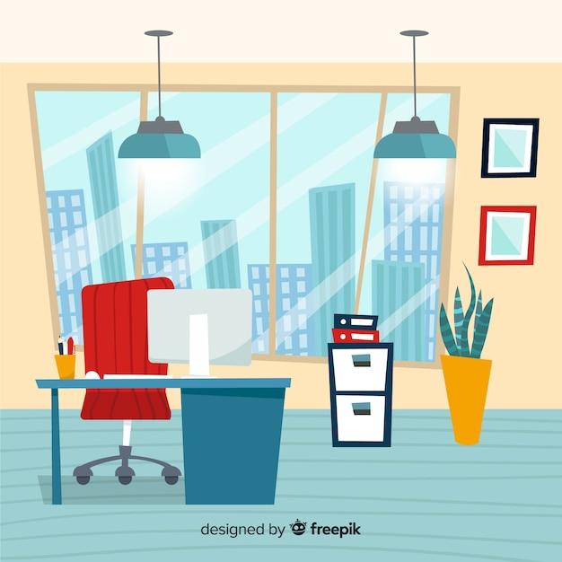 Hand gezeichneter moderner büroinnenraum Kostenlosen Vektoren