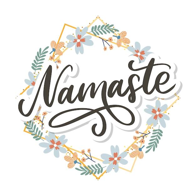 Hand gezeichneter namaste-text. hallo in hindi. tintenillustration. Premium Vektoren