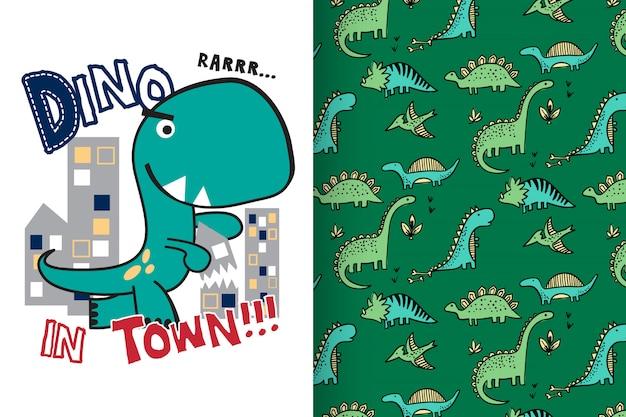 Hand gezeichneter netter dinosaurier Premium Vektoren