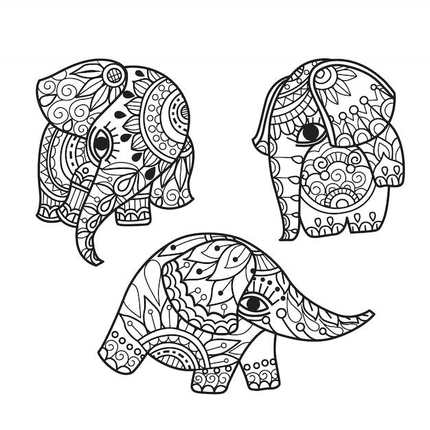 Hand gezeichneter netter elefant Premium Vektoren