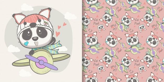 Hand gezeichneter netter panda mit nahtlosem mustersatz Premium Vektoren