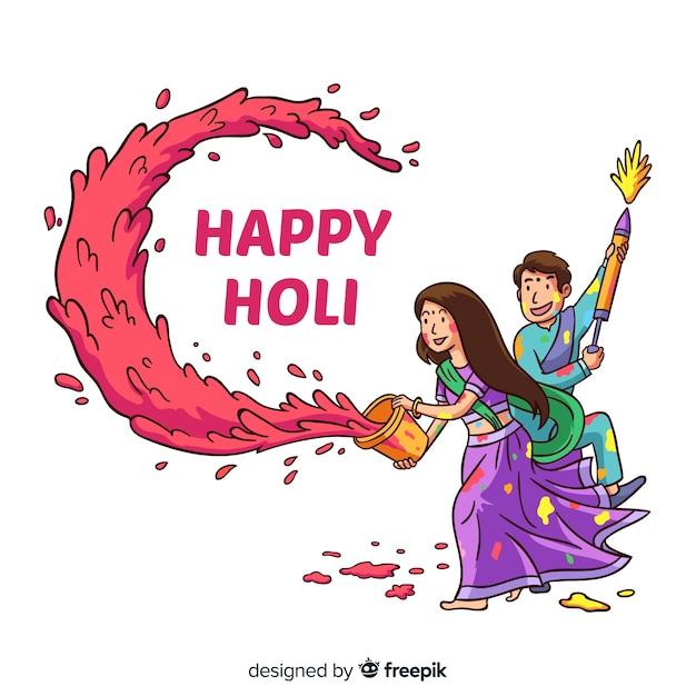 Hand gezeichneter paar holi festivalhintergrund Kostenlosen Vektoren