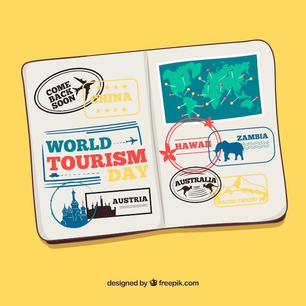 Hand gezeichneter pass mit briefmarken Kostenlosen Vektoren
