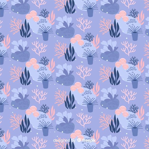 Hand gezeichneter pastellfarbkorallenhintergrund Kostenlosen Vektoren