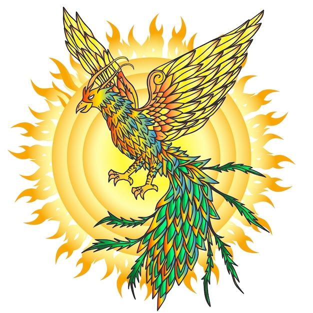 Hand gezeichneter phönixvogel und flammende sonne Kostenlosen Vektoren