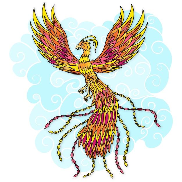 Hand gezeichneter phönixvogel und wolken Kostenlosen Vektoren