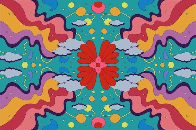 Hand gezeichneter psychedelischer grooviger hintergrund Kostenlosen Vektoren