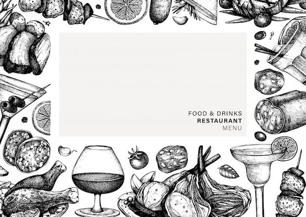 Hand gezeichneter rahmen für speisen und getränke. fleischgerichte und alkoholische cocktails illustration. menüvorlage für fleischgerichte im restaurant mit hühnchen, salami, schweinefleisch, wurst und steakskizzen. Premium Vektoren