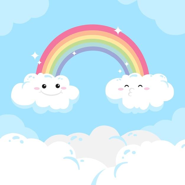 Hand gezeichneter regenbogen und wolken mit gesichtern Kostenlosen Vektoren