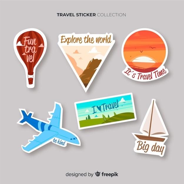 Hand gezeichneter reiseaufklebersatz Kostenlosen Vektoren