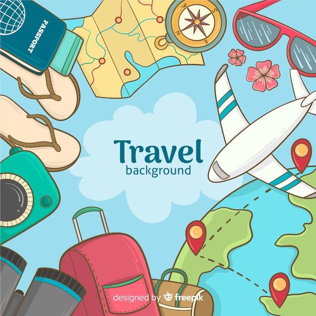 Hand gezeichneter reisehintergrund Kostenlosen Vektoren
