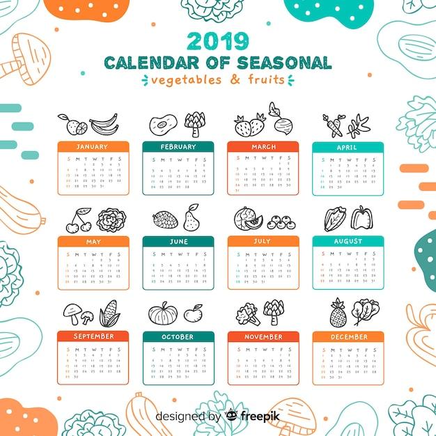 Hand gezeichneter saisongemüse- und fruchtkalender Kostenlosen Vektoren