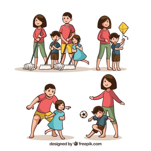 Hand gezeichneter Satz Familien, die verschiedene Tätigkeiten tun Kostenlose Vektoren