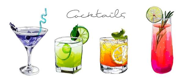 Hand gezeichneter satz von cocktails. Premium Vektoren